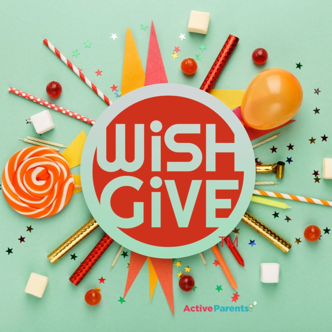 wish & give logo with birthday party decor