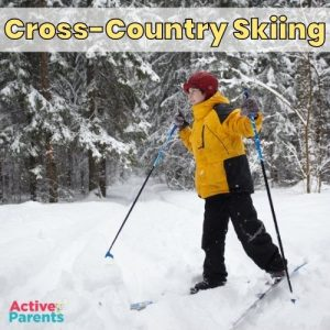 child cross-country skiing