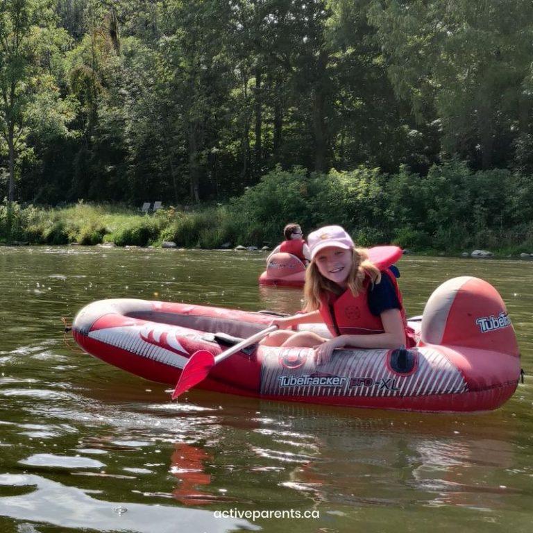 Elizabeth rafting on the grand river