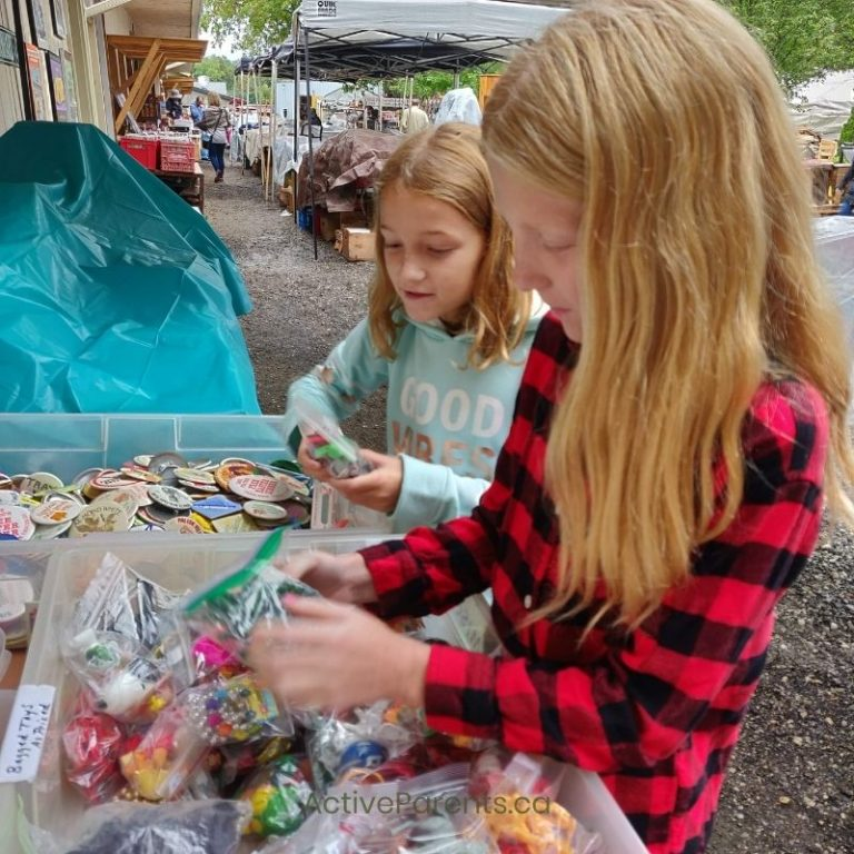 Girls shopping at the Aberfoyle Antique Market in Guelph